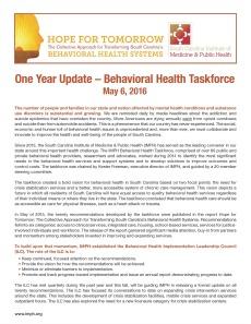 One year update – behavioral health taskforce 1